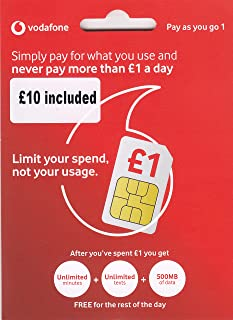 UK Vodafone SIM Card with £10 Credit preloaded, 4G Data, Voice mins and Texts to use in Europe and The UK