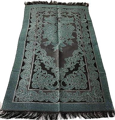 Islamic Prayer Rug Mihrab Rose Design Excellent Quality Janamaz Sajjadah Muslim Namaz Seccade Turkish Prayer Rug (Ocean Blue)