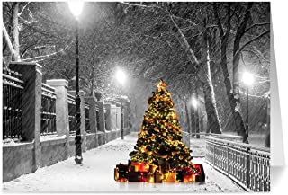 Christmas Cards, Holiday Cards - One Jade Lane - Lighted Tree in the Snow, 5x7, Heavy Stock, Set of 18 Cards & Envelopes, Seasons Greetings Cards.
