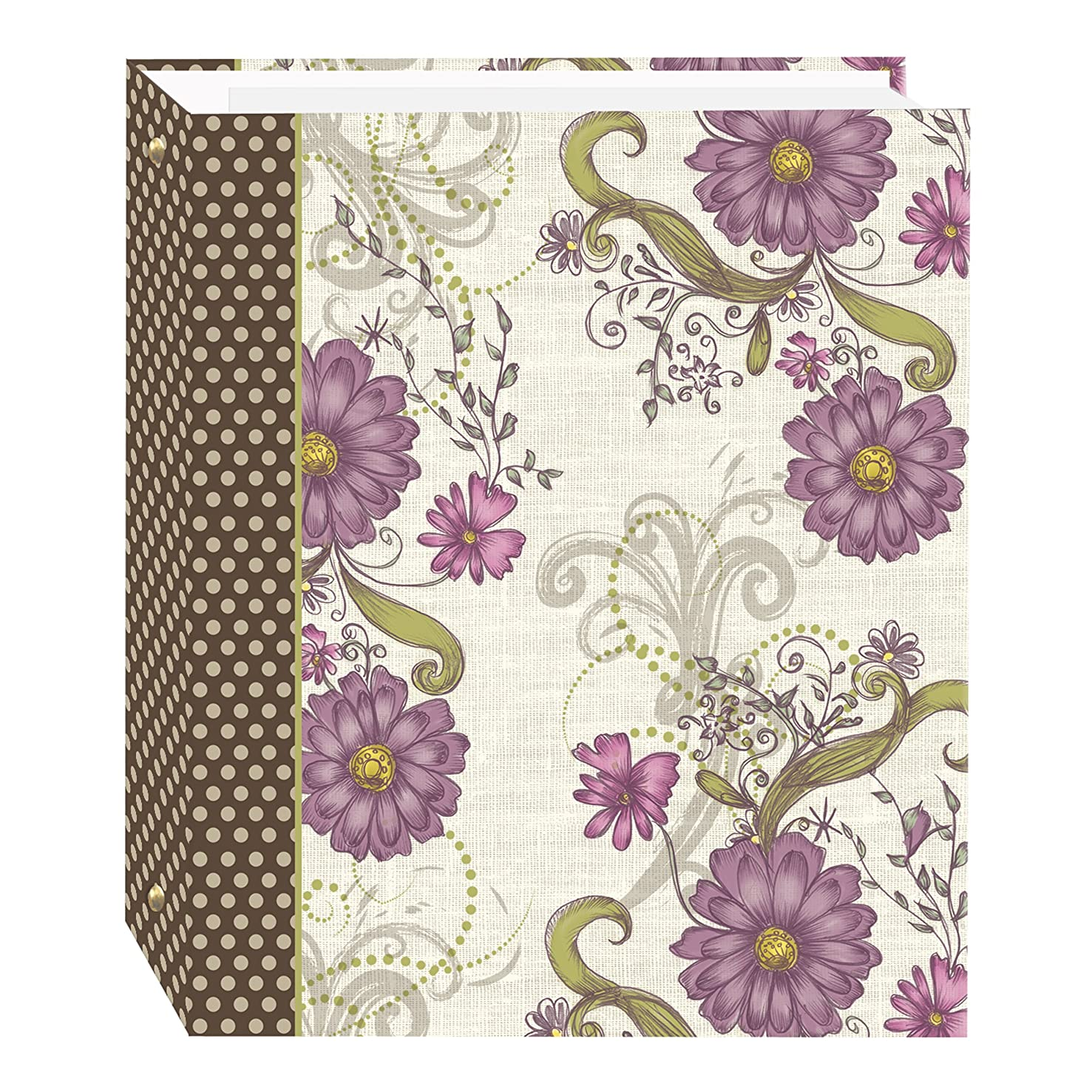 Magnetic Self-Stick 3-Ring Photo Album 100 Pages (50 Sheets), Berry Blossoms Design