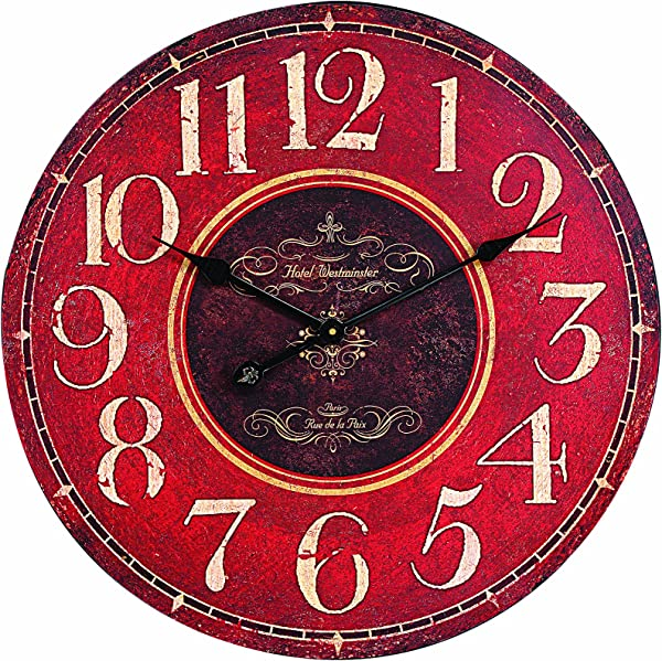 Creative Co Op Wooden Wall Clock Red