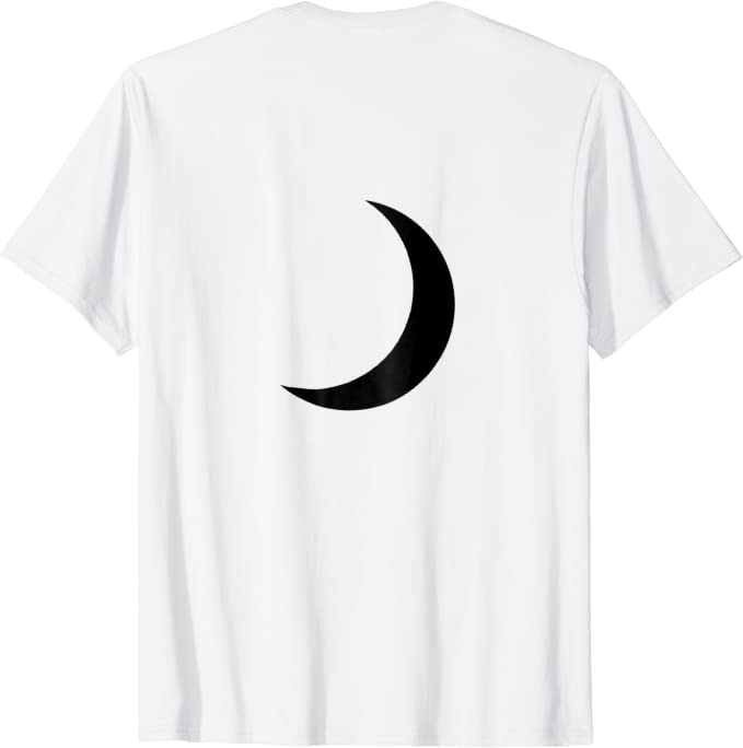 White Crescent Moon Embroidered Black T-shirt