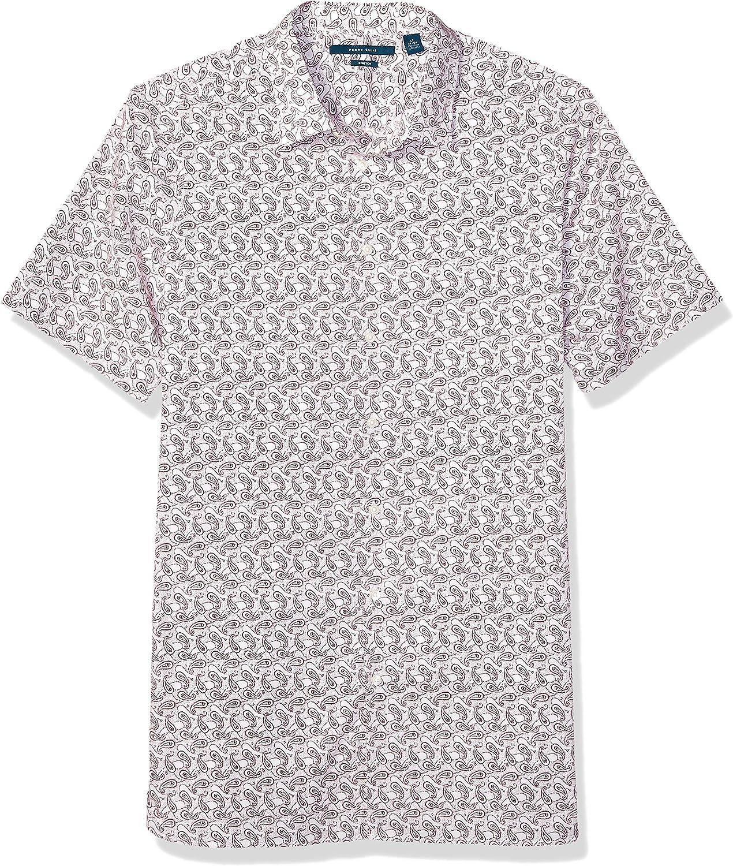 Perry Ellis Men's Big and Tall Paisley Print Short Sleeve Stretch Shirt