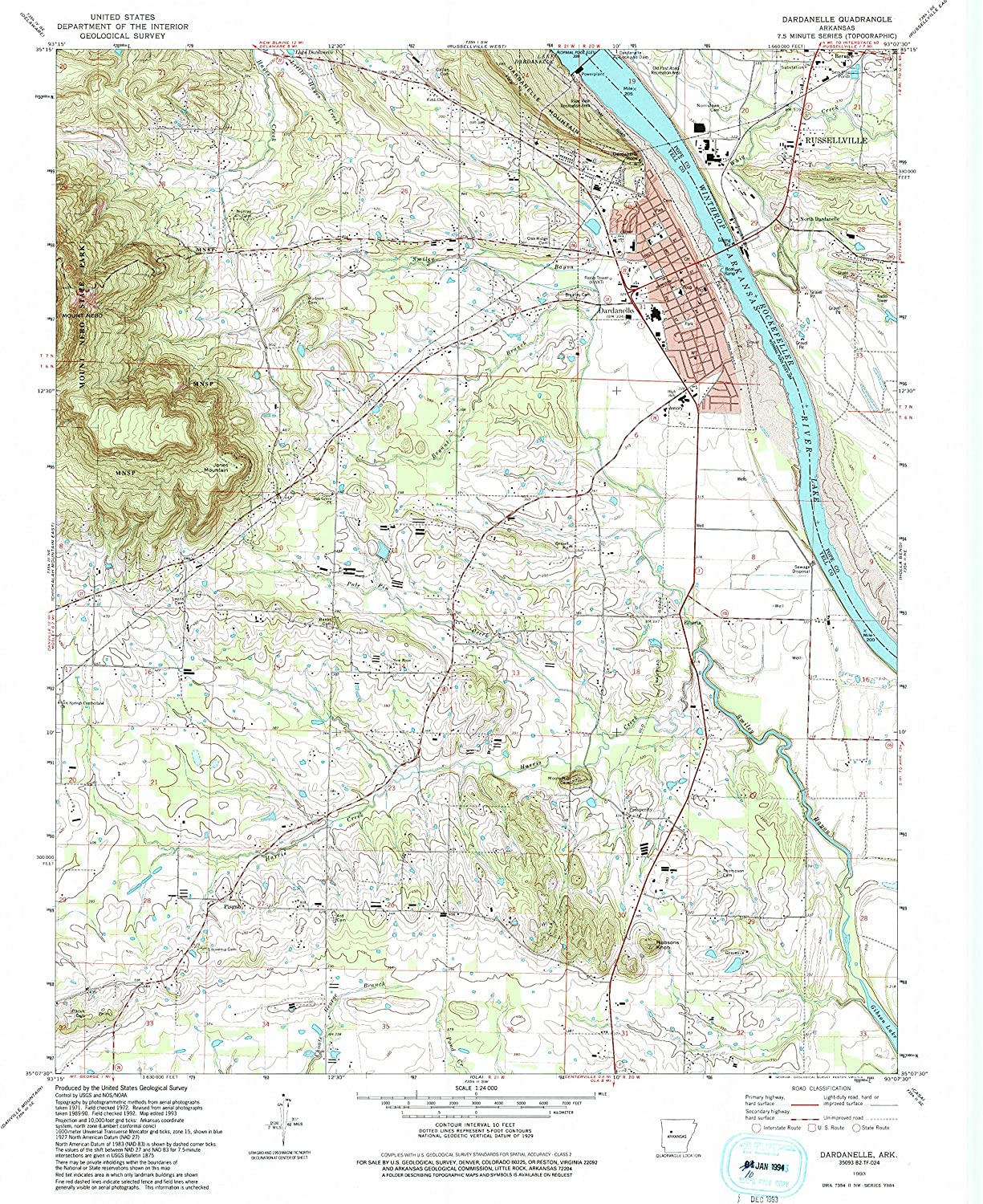 Dardanelle AR topo map, 1 24000 Scale, 7.5 X 7.5 Minute, Historical, 1993, Updated 1993, 26.7 x 21.9 in
