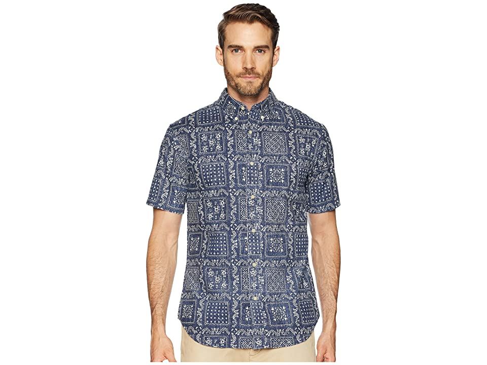Reyn Spooner Original Lahaina Tailored Fit Aloha Shirt (Ink) Men's Short Sleeve Button Up, Navy
