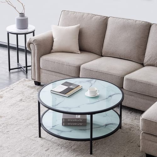 lowest Round Glass Coffee Table with online Large Storage lowest Space sale