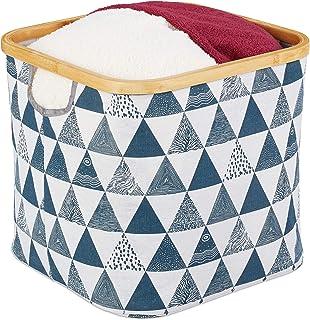 Relaxdays Panier de rangement en tissu, pliante, boîte avec rebord et poignée, 30,5x33,5x33,5cm, corbeille, noir/bleu
