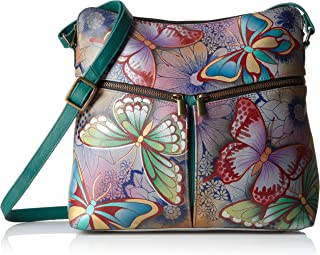 Women's Genuine Leather Large Hobo Handbag | Zip-Top Multi-Compartment Tall Organizer | Butterfly Paradise