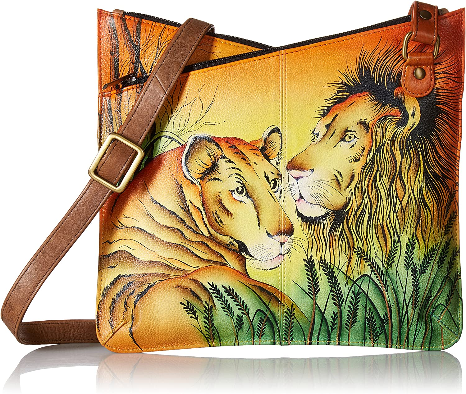 Anna by Anuschka Women's Genuine Leather V Top Multicompartment Cross Body  Hand Painted Original Artwork