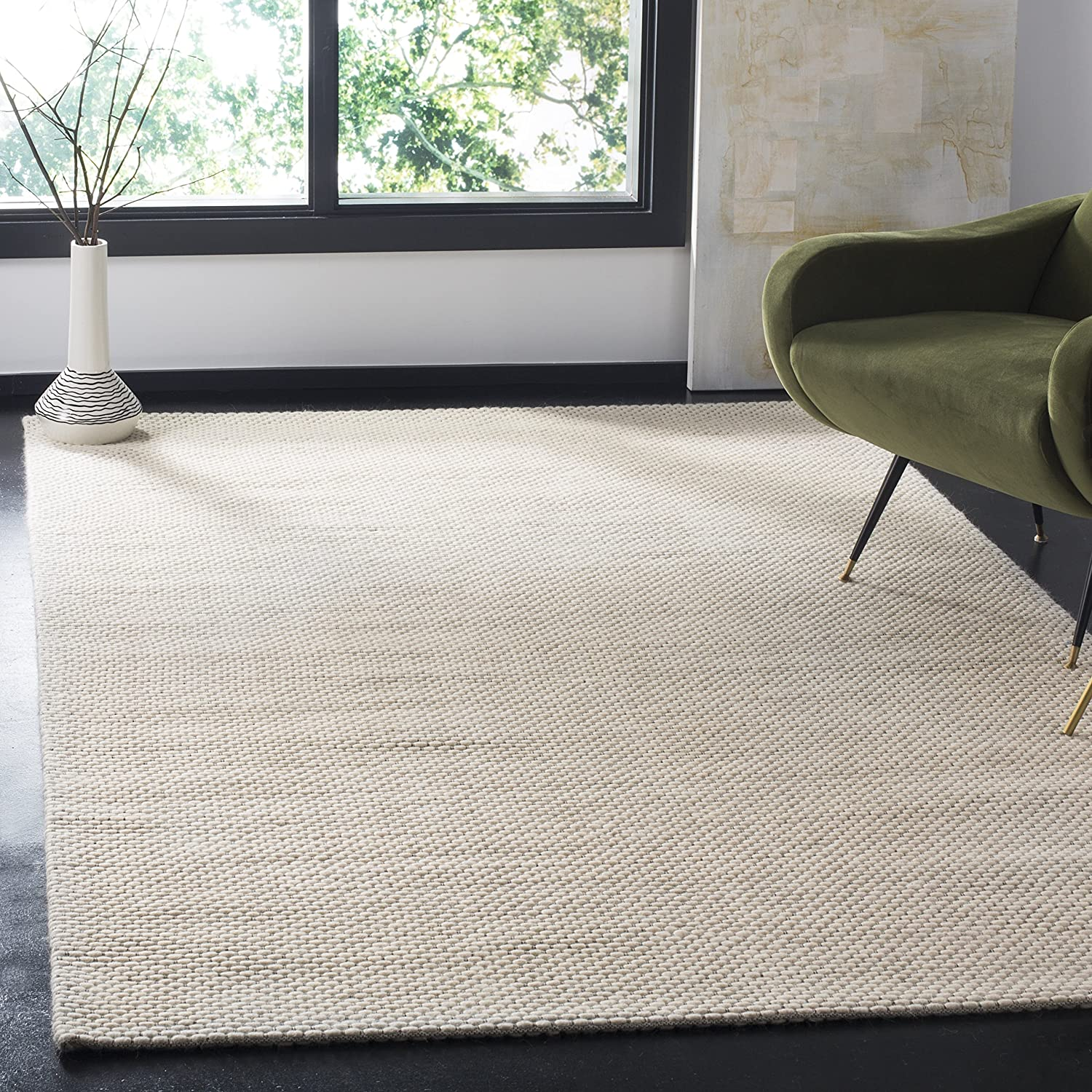 Safavieh Natura Large discharge sale Collection NAT801A Handmade Area Nippon regular agency Wool Rug Solid