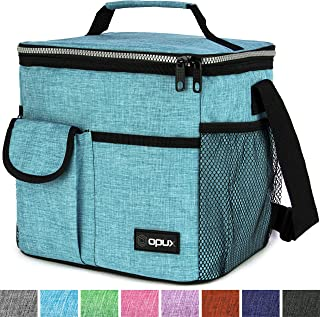 OPUX Lunch Bag Insulated Lunch Box for Women, Men, Kids   Medium Leakproof Lunch Tote Bag for School, Work   Lunch Cooler with Shoulder Strap, Pocket   Fits 20 Cans (Tall Sea Blue)