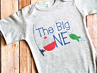 First Birthday Outfit - 12 to 18 Month Gray - The Big One - Fishing Theme