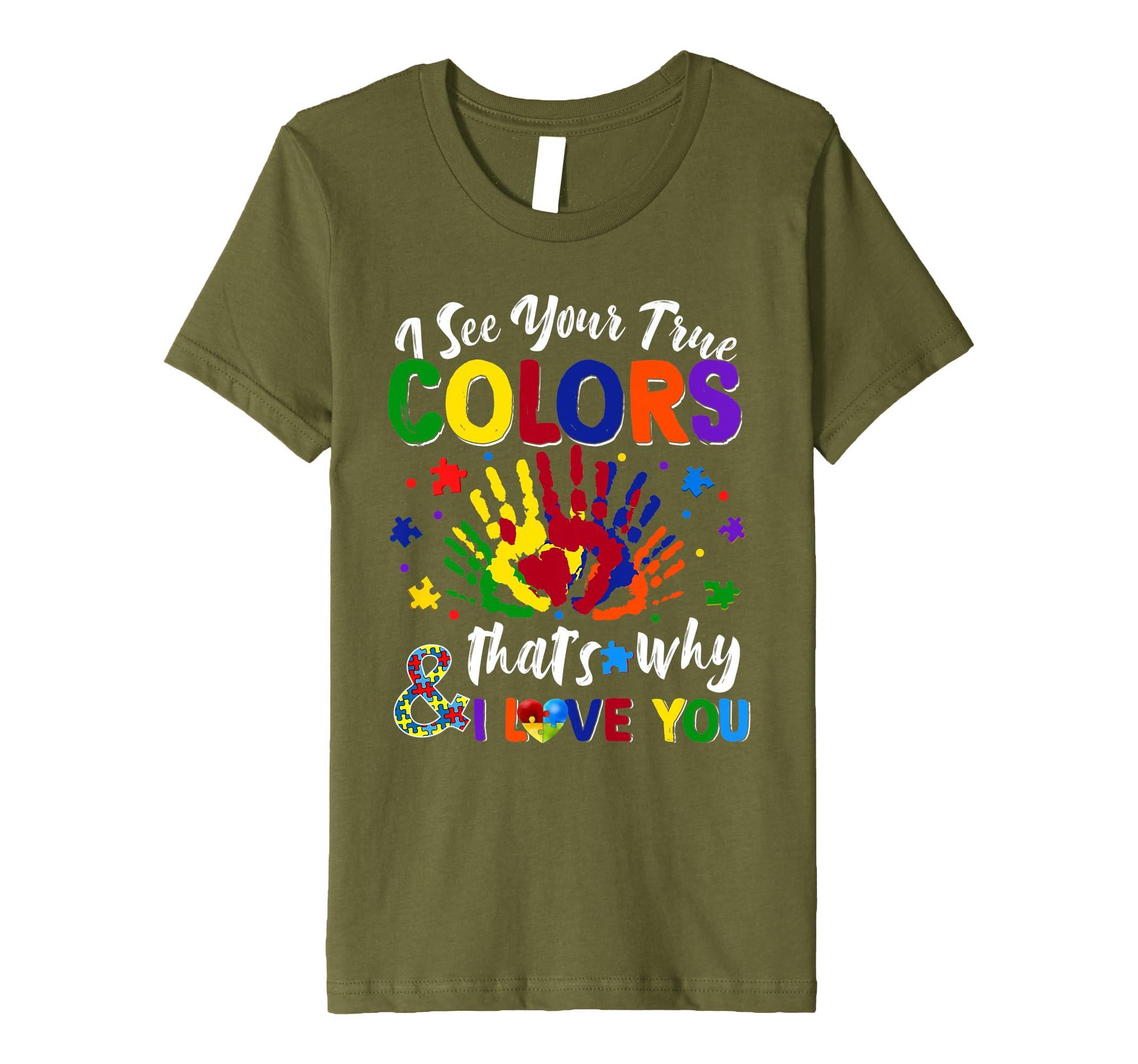 382dc351927 Amazon.com: I See Your True Colors Hands Autism Awareness Tshirt ...
