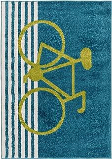 Alfombra Infantil Noa Kids Bike, Turquesa, 140 x 200 cm