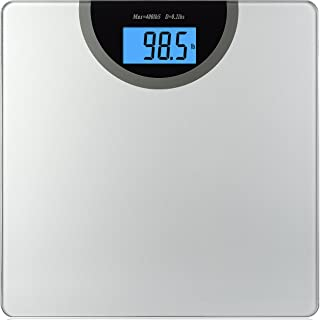 "BalanceFrom High Accuracy Premium Digital Bathroom Scale Extra Large Dual Color Backlight Display and""Smart Step-On"" Technology [Newest Version] (Regular, Silver)"