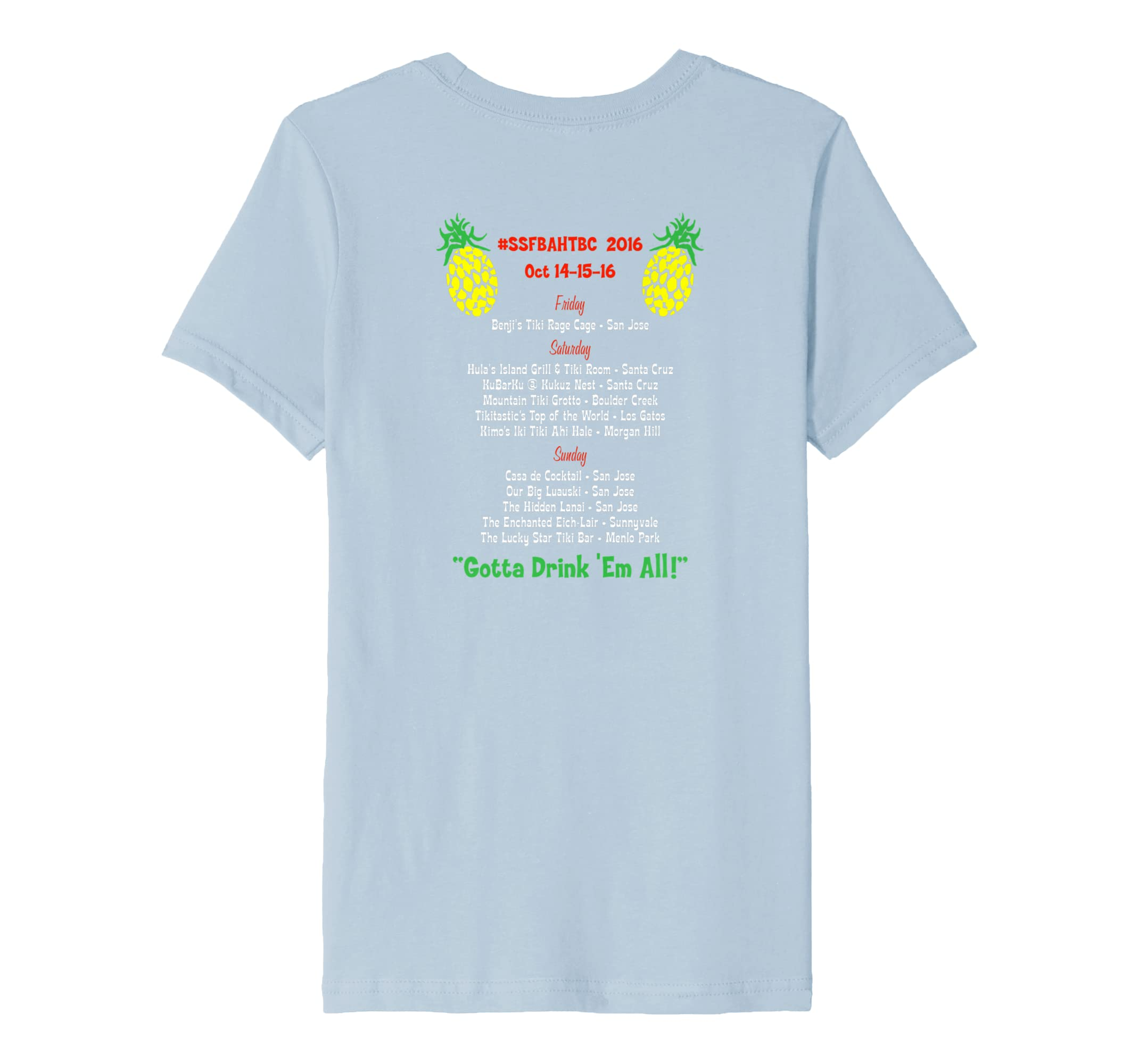 Amazon.com: 2016 South SF Bay Area Home Tiki Bar Crawl Official T-Shirt: Clothing