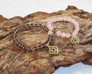 Rose Quartz Brown Quartz Quality AAAA Smoked Quartz Bracelet Gemstone Set Jewelry Couple Healing Bracelets Couple Gift 18kt Gold Plated Celtic Knot
