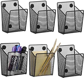 MyGift Black Wire Mesh Magnetic Office Supply Storage Baskets, Set of 6