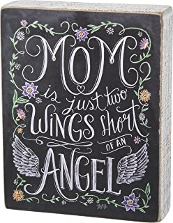 Primitives by Kathy Chalk Art Box Sign, 5.5 x 7-Inches, Two Wings Short of an Angel