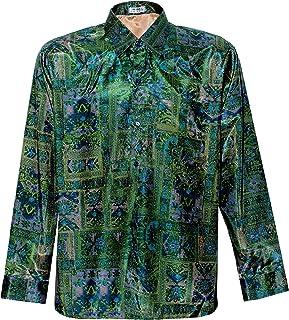 Camisa de seda tailandesa para hombre con estampado gráfico de manga larga