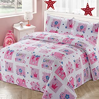 Better Home Style White and Pink Little Princess Kids/Girls Coverlet Bedspread Quilt Set with Pillowcases with Crown Castle Flowers and Butterflies Imagery # 2017206 (Queen/Full)