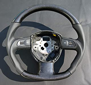 A8 D4 Carbon Fiber Steering Wheel - 2x2 Twill Weave Carbon and Genuine Leather Black Color