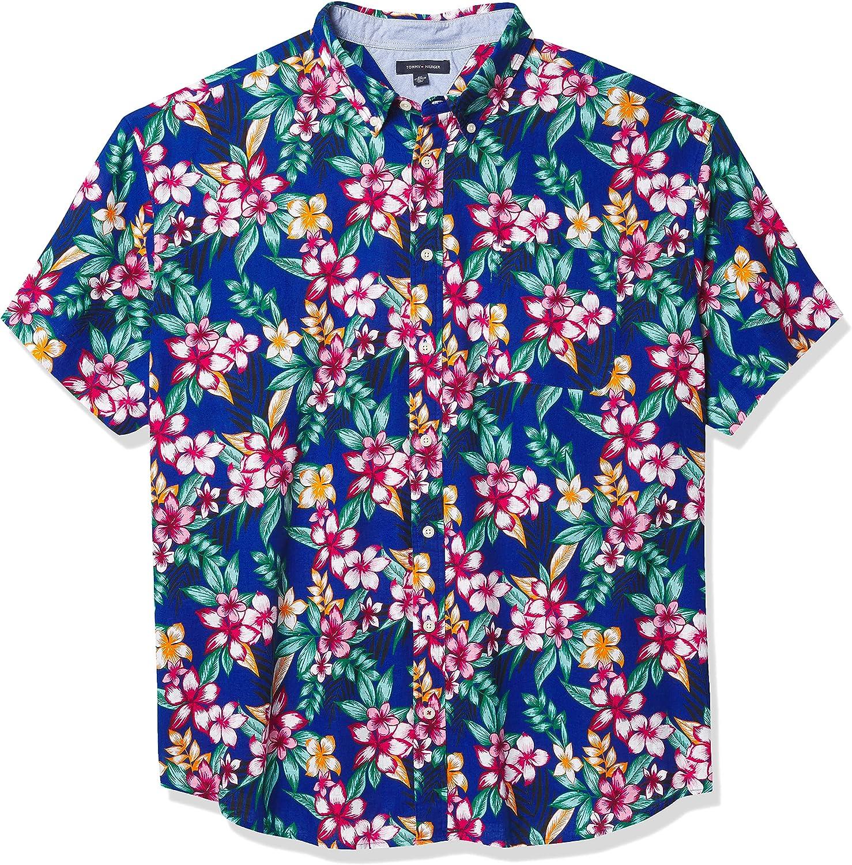 Tommy Hilfiger mens Tommy Hilfiger Men's Big & Tall Short Sleeve Button Down Shirt in Custom Fit