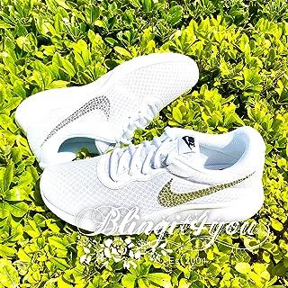 HANDMADE Beedazzled Swarovski crystal Bling Nike Swooshes Logo for women White Nike Tanjun shoes