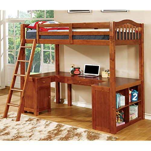 Beau Furniture Of America Lavinia Twin Loft Bed With Workstation, 41.625 By 80  By 75