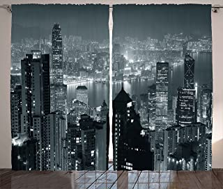 Ambesonne City Curtains, Aerial Night of View Hong Kong Skyline Famous Modern Urban Town Metropolis Panorama Image, Living Room Bedroom Window Drapes 2 Panel Set, 108