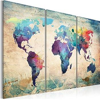 murando - Cuadro en Lienzo 120x80 Impresión de 3 Piezas Material Tejido no Tejido Impresión Artística Imagen Gráfica Decoracion de Pared Mapamundi Mapa del Mundi 020113-47