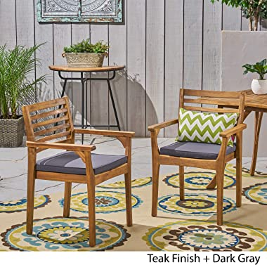 Great Deal Furniture Esther Patio Dining Chairs, Acacia Wood and Outdoor Cushions, Teak and Dark Gray (Set of 2)