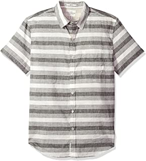 Lucky Brand Men's Casual Short Sleeve Stripe Ballona Button Down Shirt