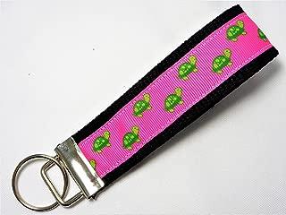 Pink Turtle Ribbon Wristlet Key Fob Keychain Black