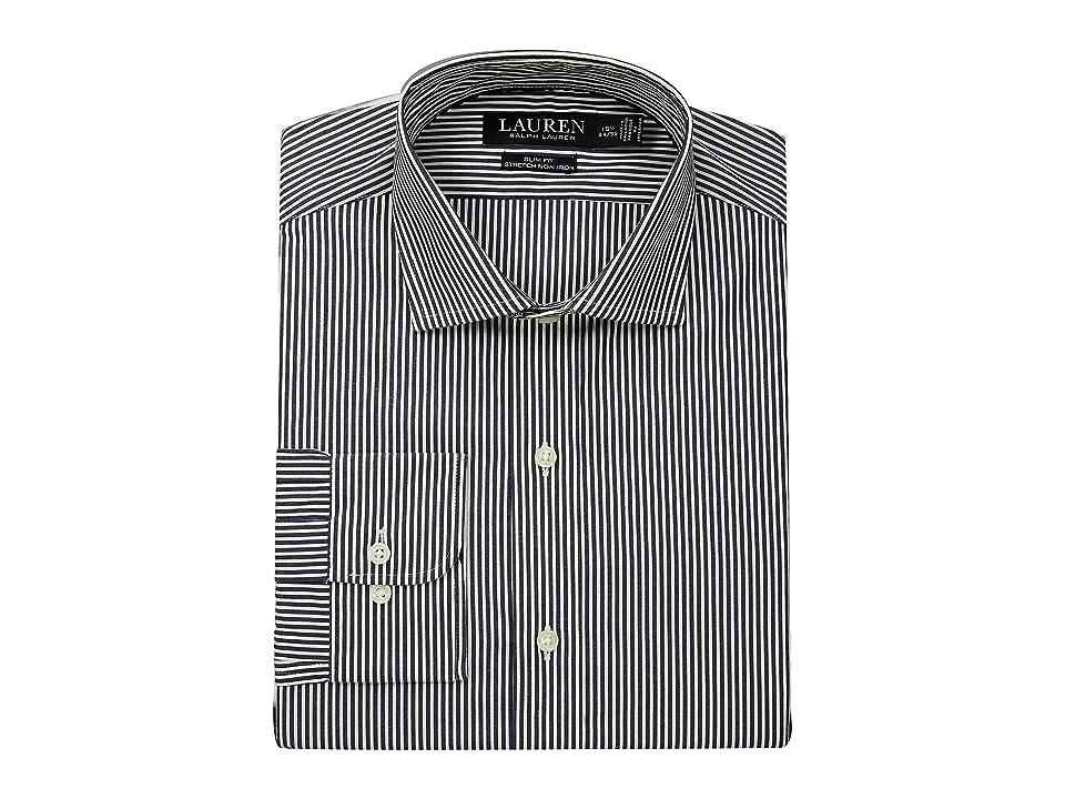 LAUREN Ralph Lauren Slim Fit No-Iron Multi-Stripe Estate Dress Shirt (Ink Navy/Bone) Men's Long Sleeve Button Up