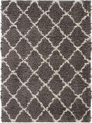 "Nourison Ultra Shag Charcoal Grey Plush Area Rug 8'2"" x 10', 8'2""X10', Beige"