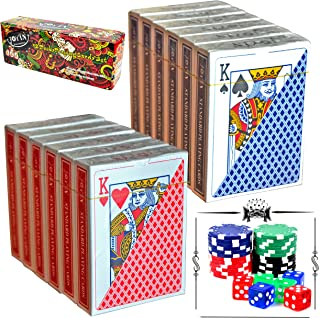 12 Decks Playing Cards with Poker Chips and Dice, Poker Size Regular Index (6 Red/6 Blue) by Joyin Toy