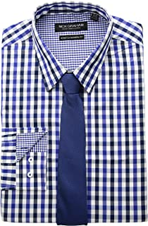 Nick Graham Men's Modern Fitted Multi Gingham Stretch Shirt with Solid Tie