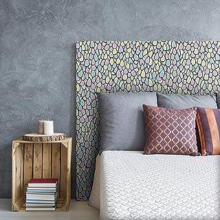 MEGADECOR Cabecero Cama PVC Decorativo Económico Diseño Abstracto Mosaico Gotas Multicolor Pastel Multicolor Varias Medidas (150 cm x 60 cm)