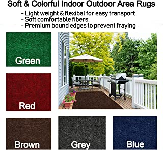 Soft & Colorful Lightweight Indoor-Outdoor Area Rugs with Premium Bound Edges to Choose from (8' x 10', Blue)