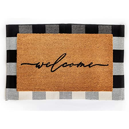 Layered Outdoor Welcome Mat Set - Coconut Coir (18-inch x 30-inch) and Woven Doormat (24-inch x 35-inch) Combo Inside or Outside Pet Friendly Rug for Entry Porch, Deck, Patio, or Mudroom (Black Check)