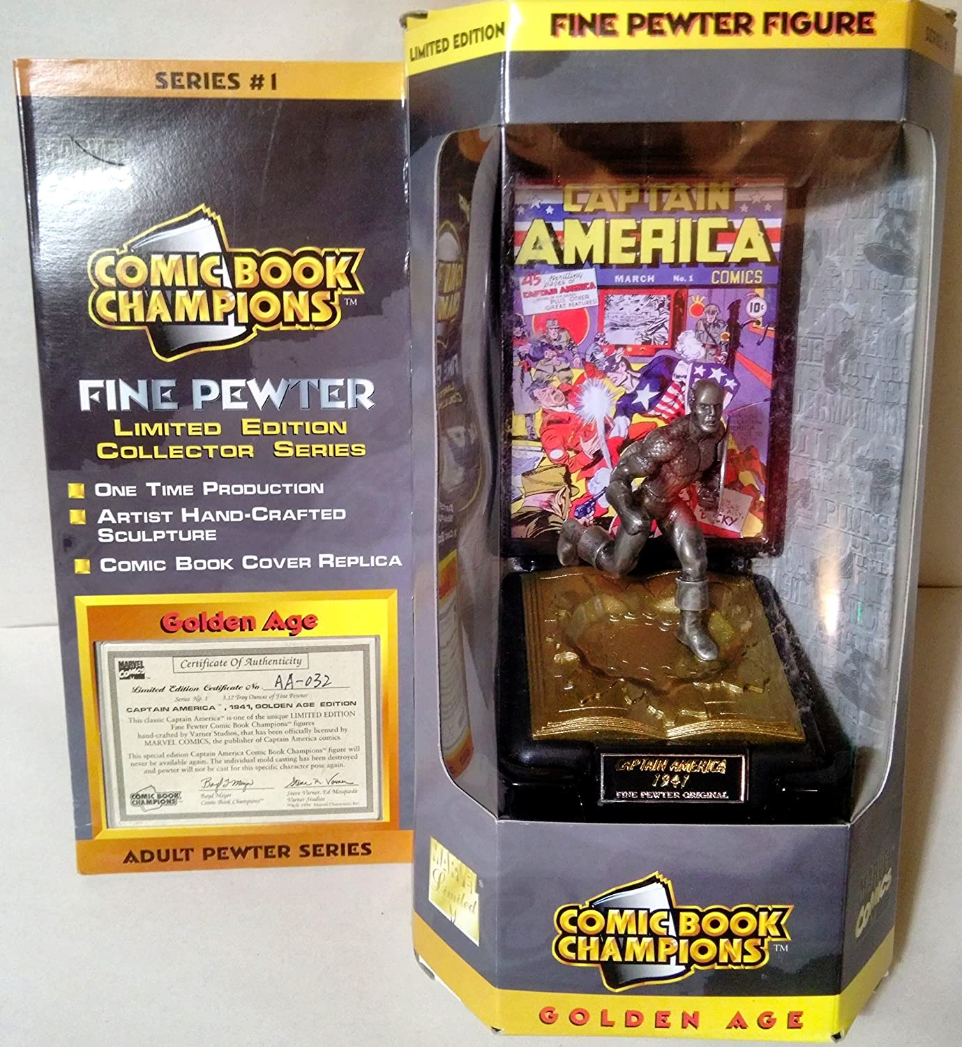 Comic Book Champions Fine Pewter Figure { Captain America} by Marvel Characters