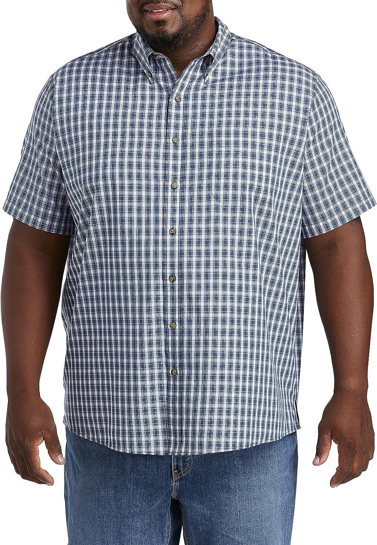 Harbor Bay by DXL Big and Tall Easy Care Medium Plaid Sport Shirt, Dark Denim White