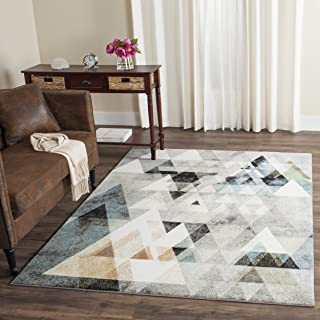 Safavieh Porcello Collection PRL6938C Modern Abstract Art Grey and Blue Area Rug (4' x 6')