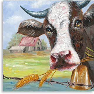 Cow Pictures Wall Decor - Colorful Farmhouse Canvas Wall Art - Relaxing Painting of Farm Animal Poster Mural for Bedroom B...