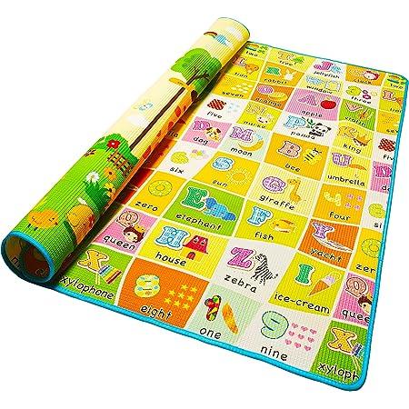 Alea Baby® Tappeto Neonato Gattonamento Ripiegabile (con borsetta) Gioco e Divertimento Bambini con tanti Colori, Animaletti e Letterine - Certificato CE