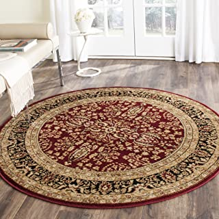Safavieh Lyndhurst Collection LNH214A Traditional Oriental Red and Black Round Area Rug (10' Diameter)