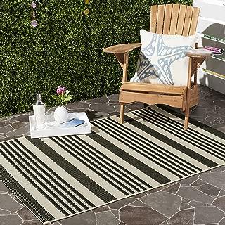 Safavieh Courtyard Collection CY6062-216 Black and Bone Indoor/ Outdoor Area Rug (9' x 12')