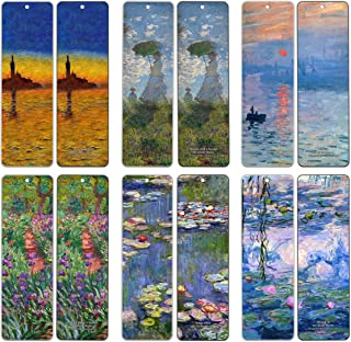 Creanoso Claude Monet Bookmarks (12 Packs) - Famous Paintings Water Lilies - Bookmarks for Books Men Women Kids Boys Girls - Wall Decor