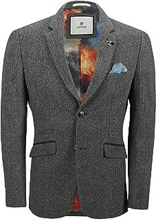 Cavani Mens Grey Herringbone Tweed Jacket Wool Blend Smart Tailored Fit Vintage Blazer[Erik,Grey,Chest UK/US 50, EU 60]